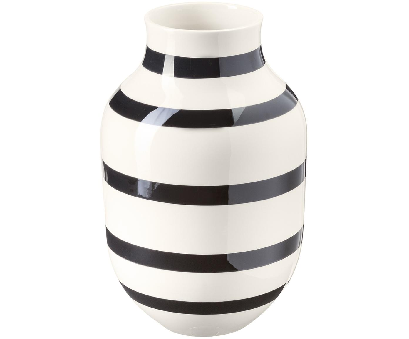 Handgemaakte design vaas Omaggio, groot, Keramiek, Zwart, wit, Ø 20 x H 31 cm