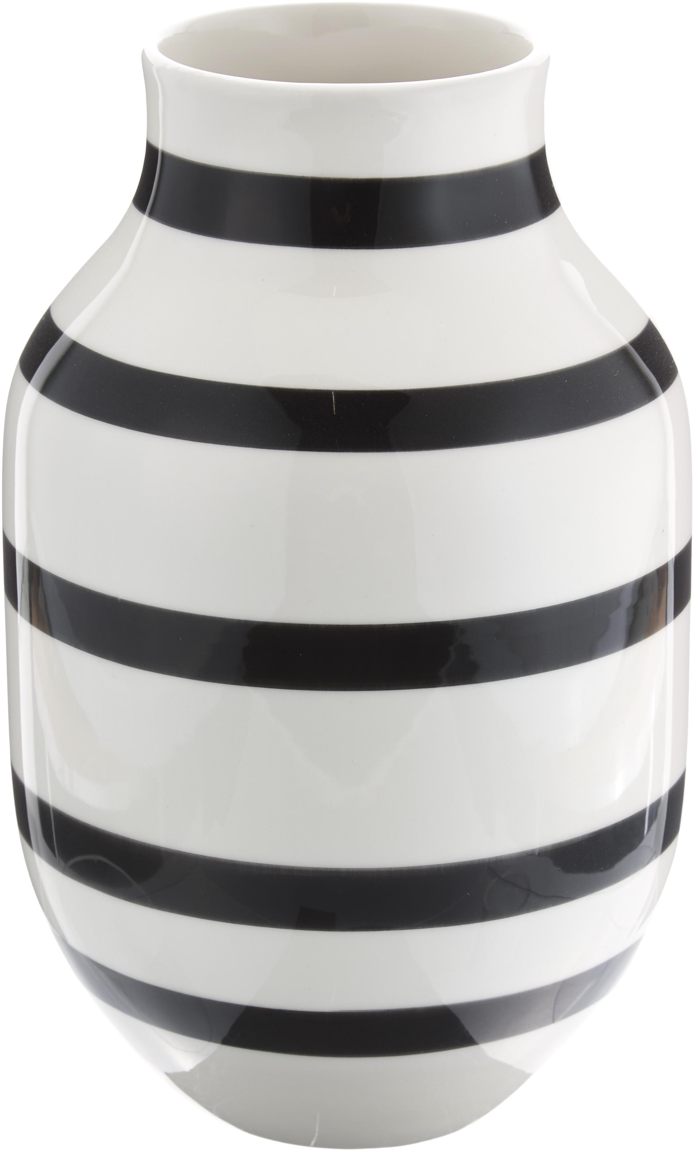 Jarrón artesanal de diseño Omaggio, grande, Cerámica, Negro, blanco, Ø 20 x Al 31 cm