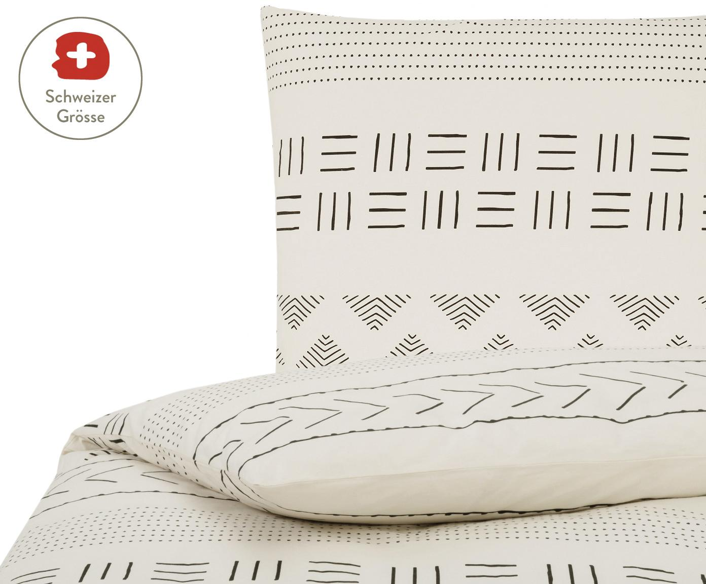 Gewaschener Baumwoll-Bettdeckenbezug Kohana im Boho Style, Webart: Perkal Fadendichte 180 TC, Ecru, Schwarz, 160 x 210 cm