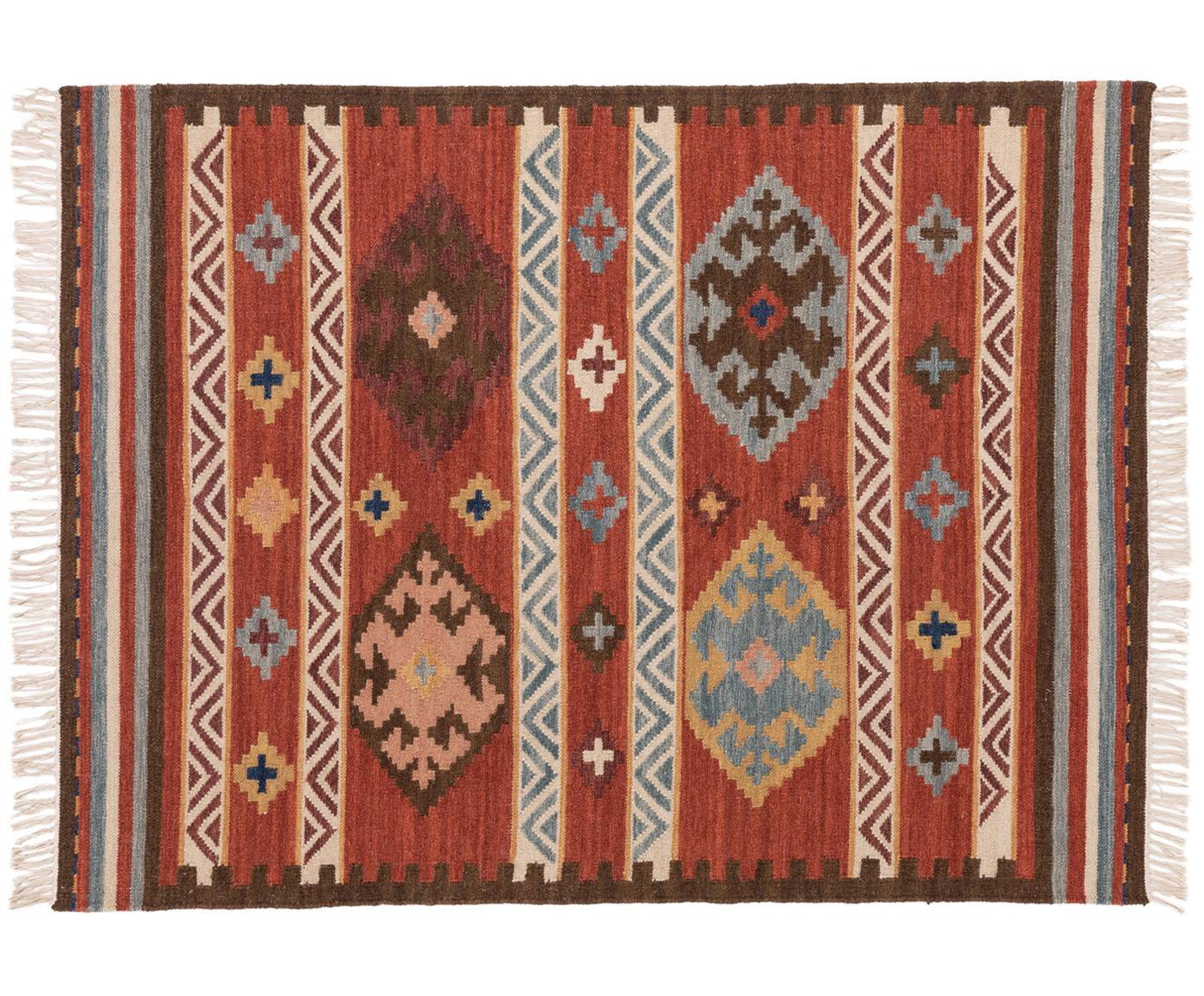 Ręcznie tkany kilim z wełny Zohra, Czerwony, wielobarwny, S 120 x D 170 cm (Rozmiar S)