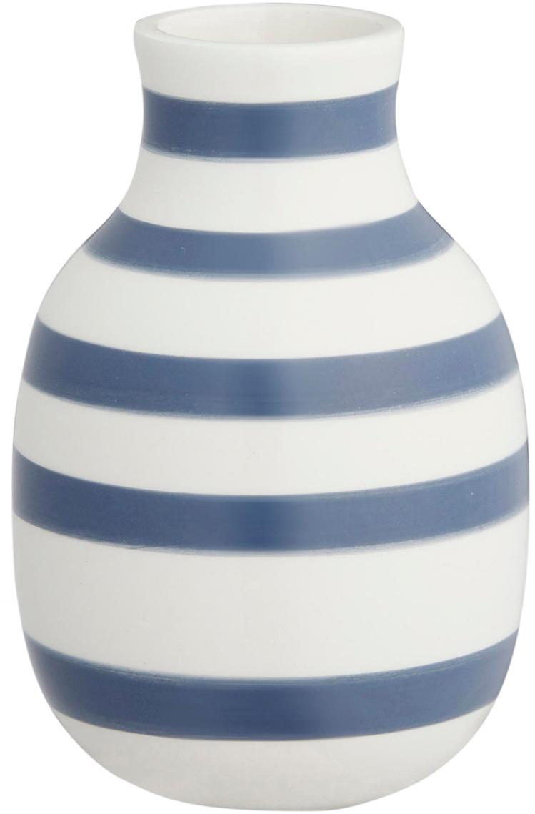 Kleine handgefertigte Design-Vase Omaggio, Keramik, Weiß, Stahlblau, Ø 8 x H 13 cm
