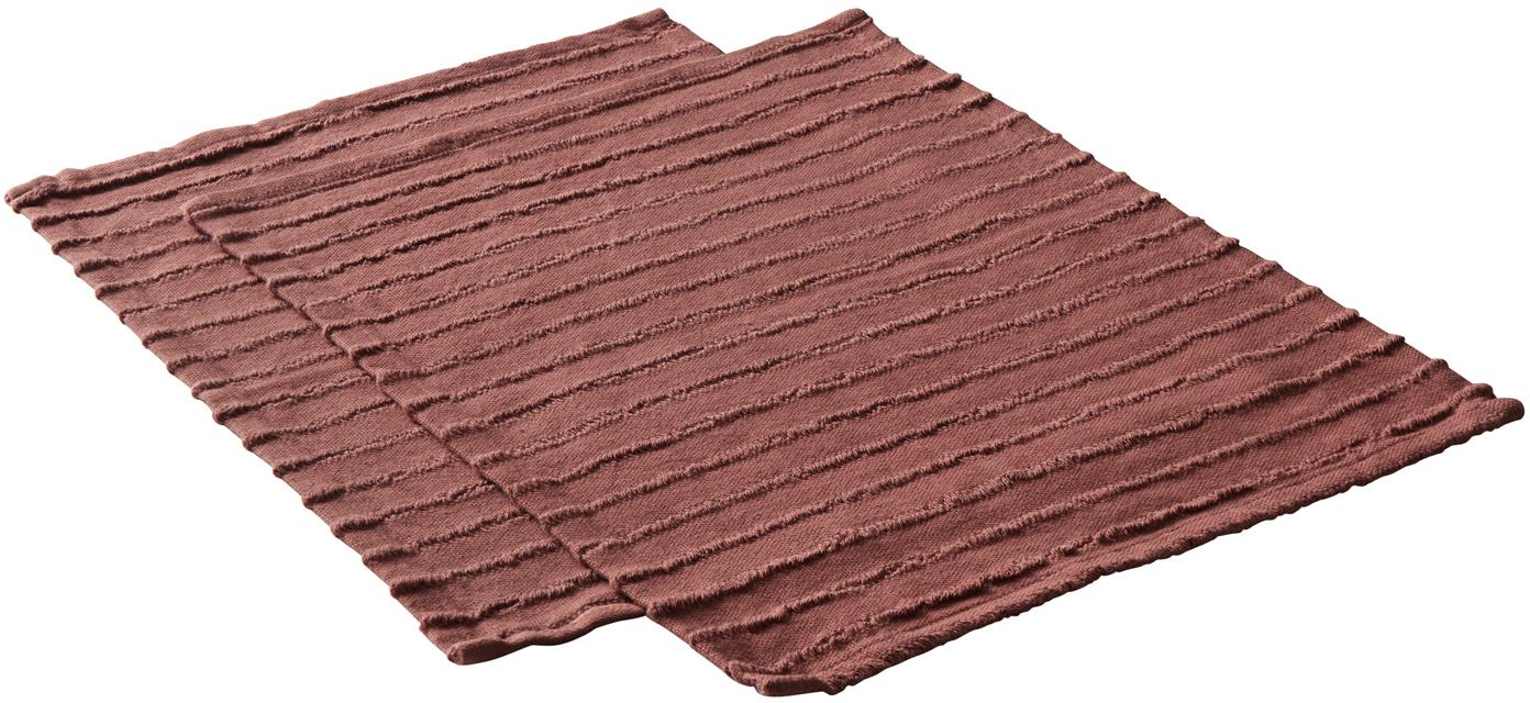 Manteles individuales Loveli, 2uds., Algodón, Rojo terracota, An 35 x L 45 cm