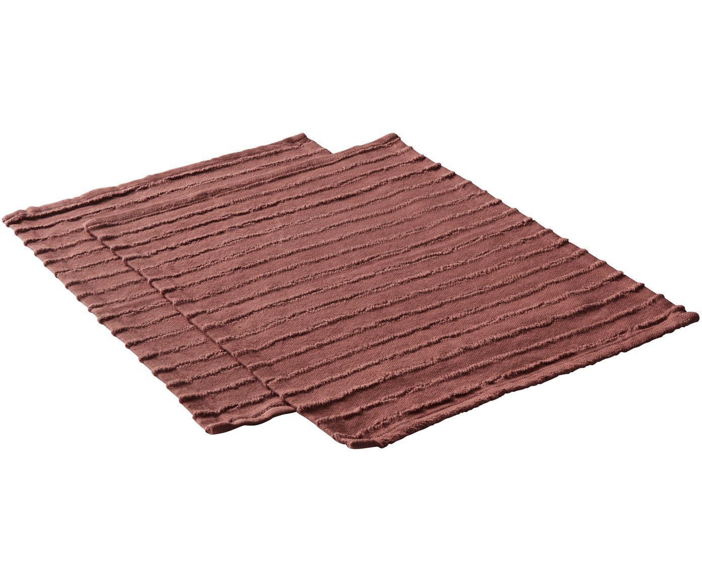 Tischsets Loveli, 2 Stück, Baumwolle, Terrakottarot, 35 x 45 cm