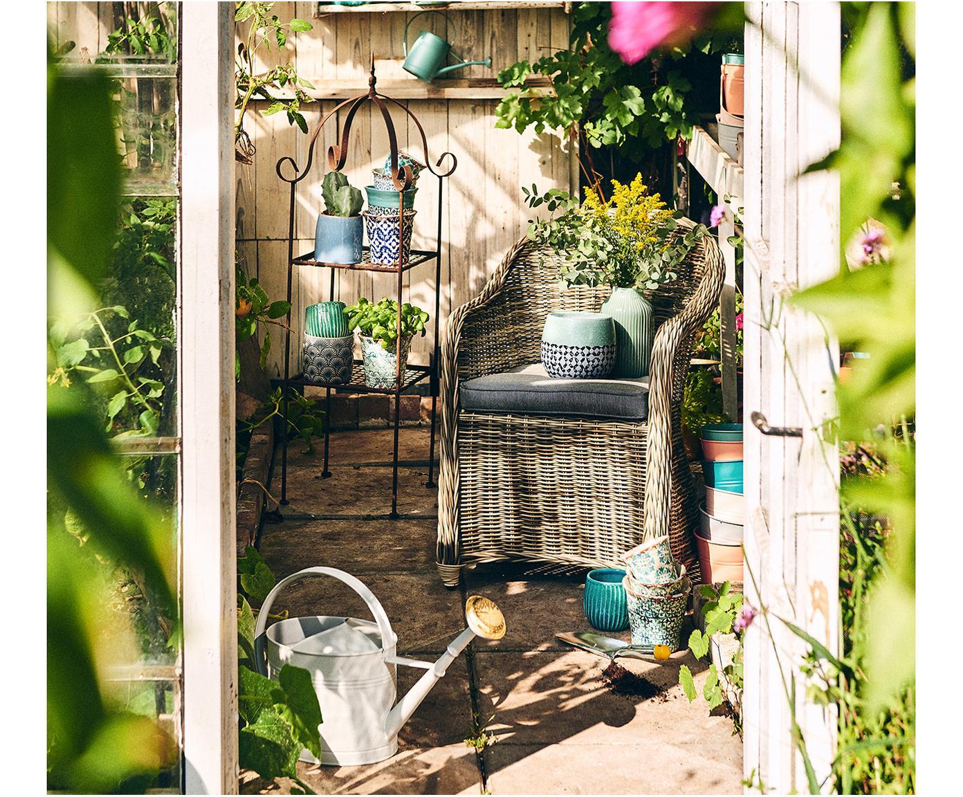 Krzesło z ogrodowe z polirattanu z podłokietnikami Sunday, Stelaż: aluminium, Tapicerka: poliester, Brązowy, S 56 x G 68 cm
