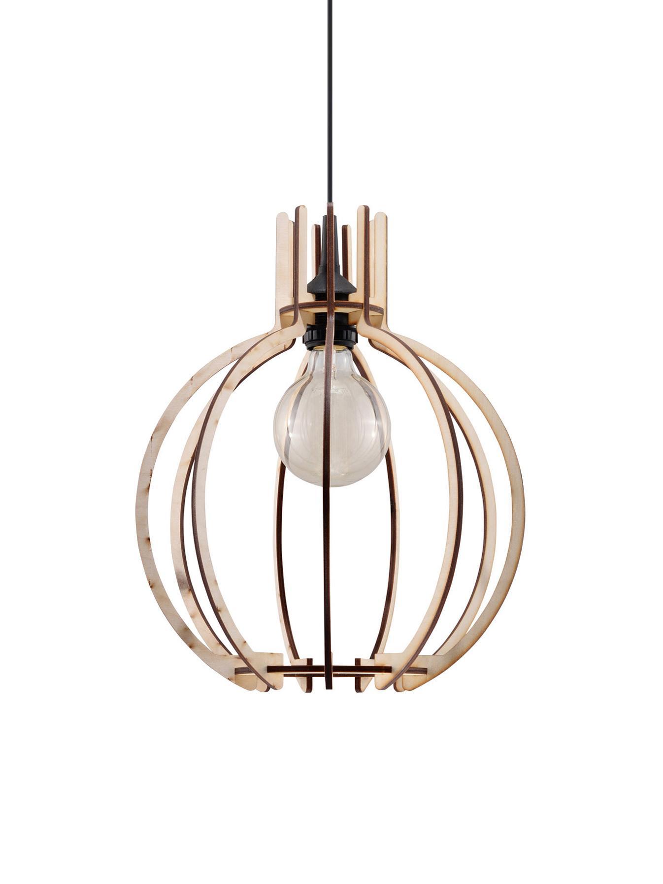 Lampada a sospensione in legno Laranxa, Paralume: legno, Baldacchino: materiale sintetico, Legno, nero, Ø 30 x Alt. 90 cm