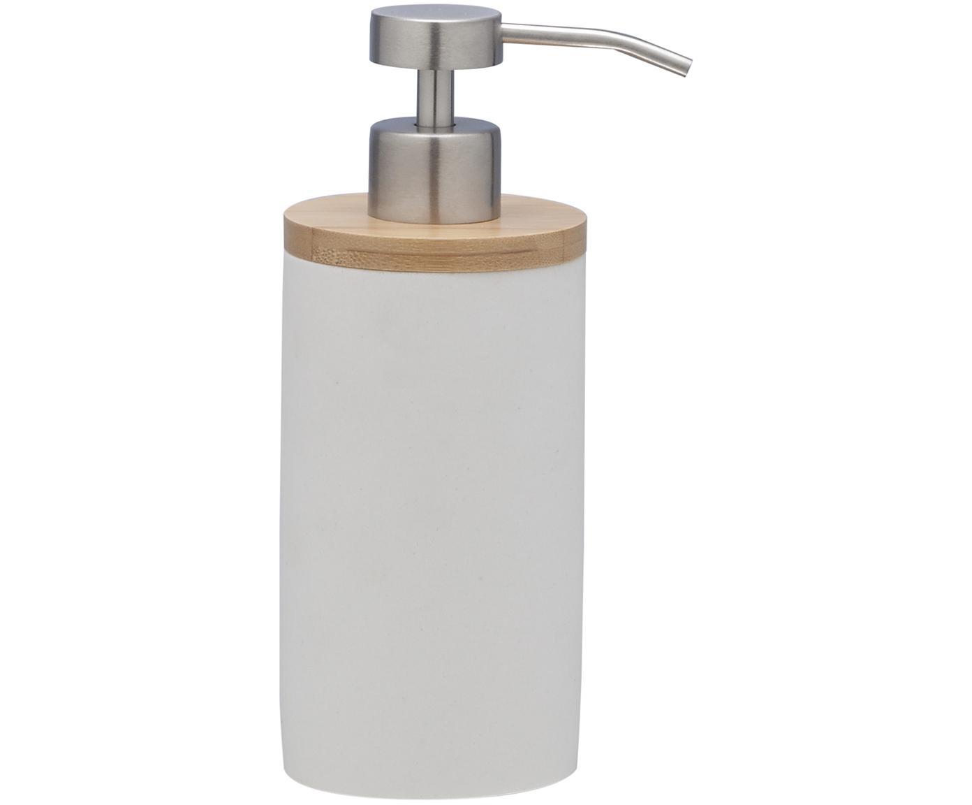 Dozownik do mydła z drewna bambusowego Grace, Biały, Ø 7 x W 18 cm