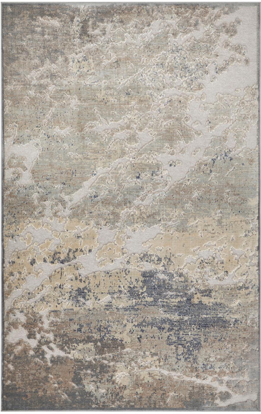 Viscose vloerkleed Arroux met hoog-diep effect, 90 % viscose, 10 % polyester, Grijs, zilverkleurig, B 80 x L 125 cm (maat XS)
