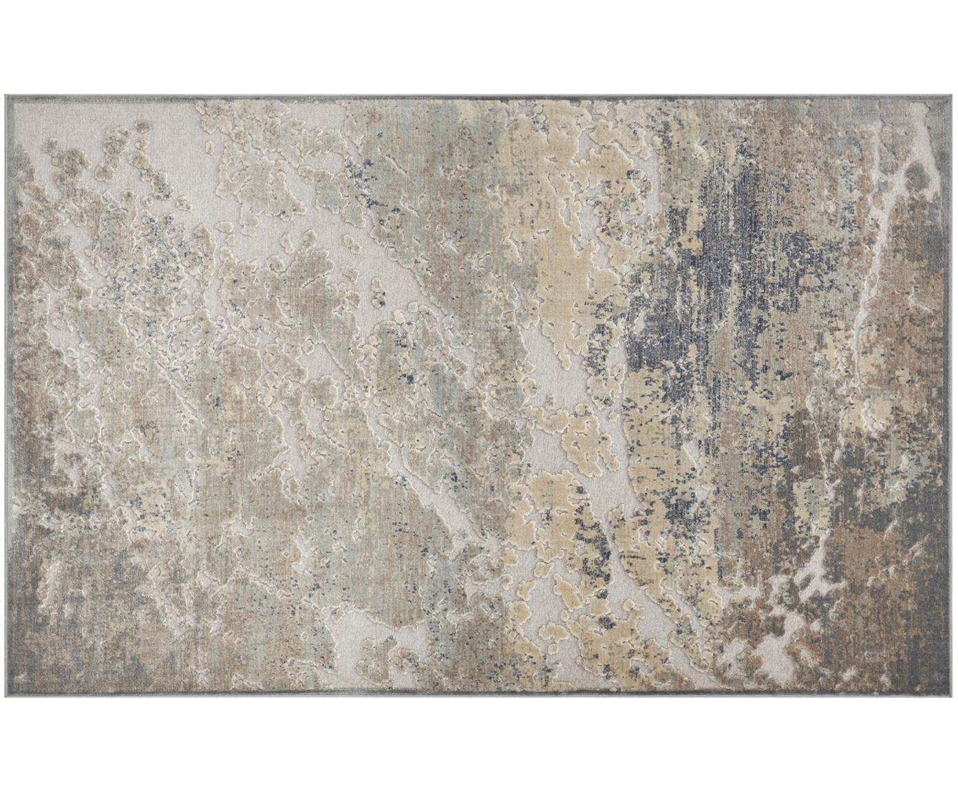 Alfombra de viscosa texturizada Arroux, Parte superior: 90%viscosa, 10%poliéste, Reverso: yute, Gris, plateado, An 80 x L 125 cm (Tamaño XS)