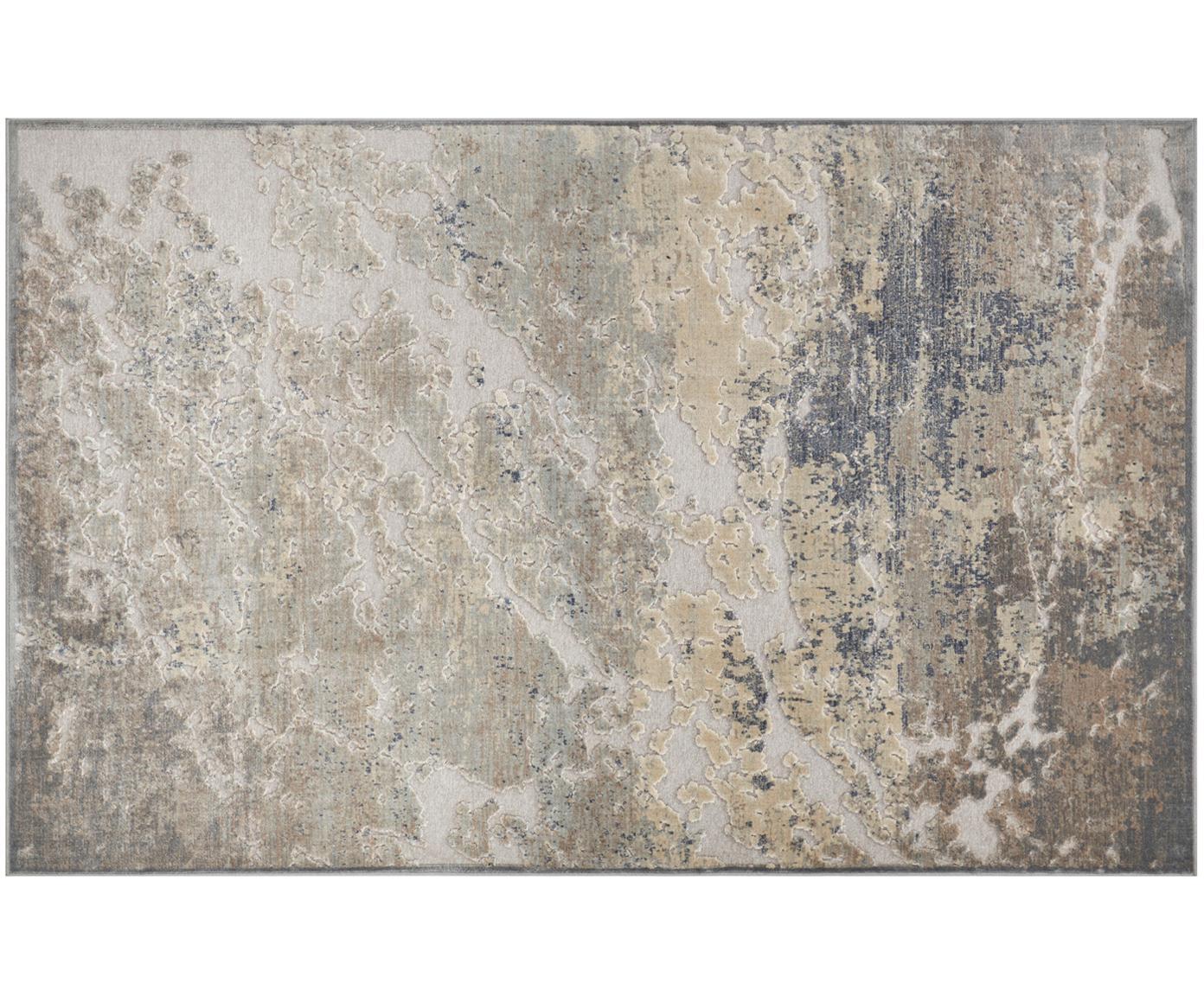 Tappeto in viscosa con effetto a rilievo Arroux, Retro: juta, Grigio, argentato, Larg. 80 x Lung. 125 cm (taglia XS)