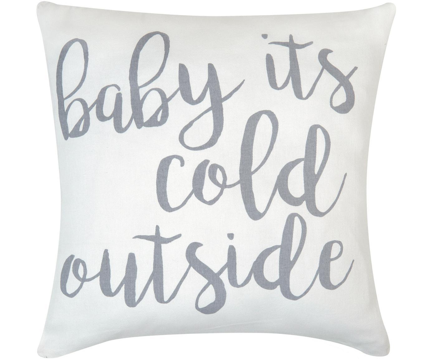 Funda de cojín Cold Outside, 100%algodón, tela Panamá, Gris, crudo, An 40 x L 40 cm