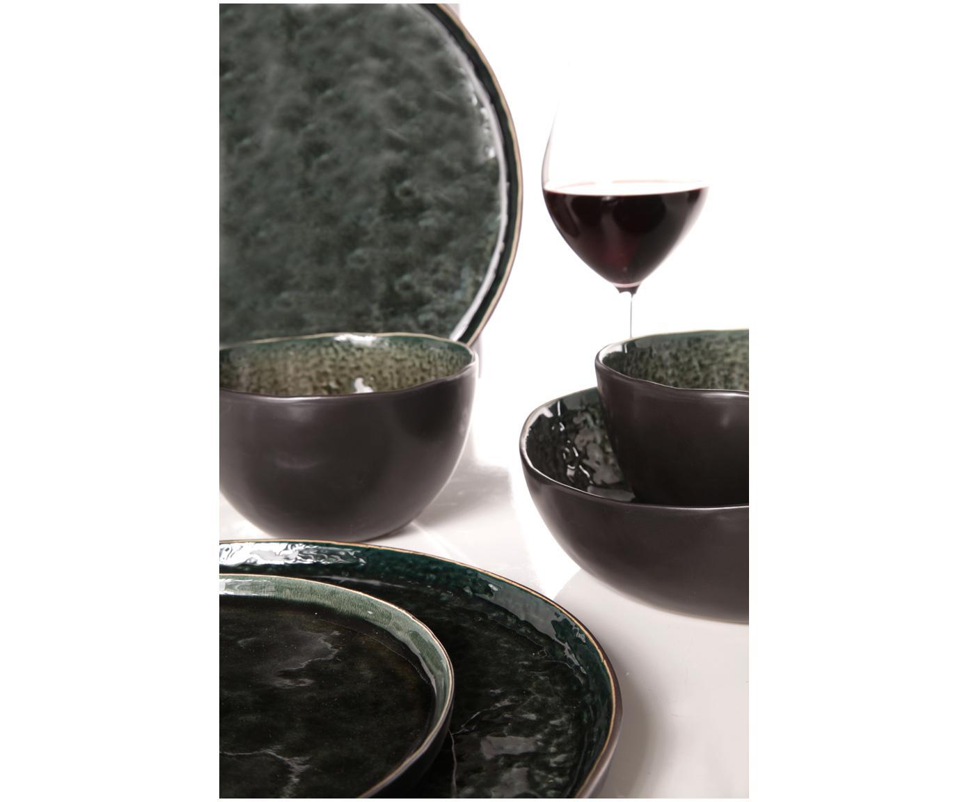 Speiseteller Lagune in Dunkelgrün, 4 Stück, Keramik, Graubraun, Schwarzgrün, Ø 27 cm