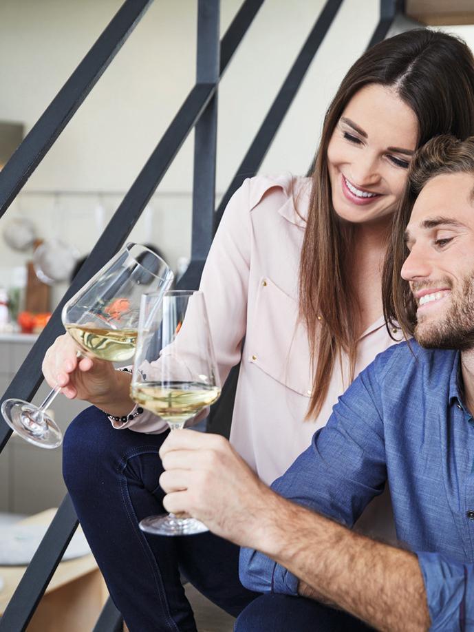 Verres à vin blanc modernes Puccini, 6pièces, Transparent