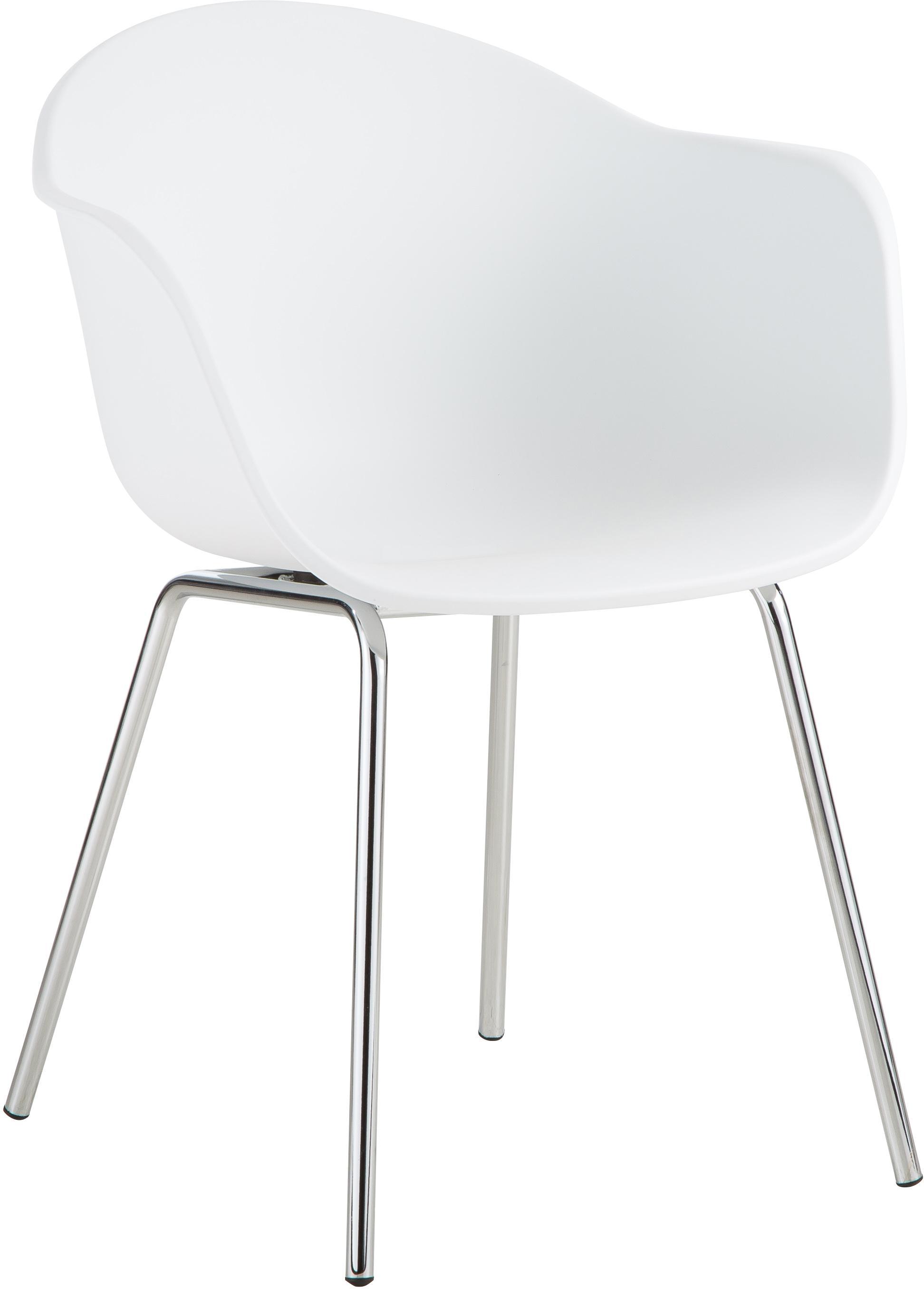 Kunststoff-Armlehnstuhl Claire mit Metallbeinen, Sitzschale: Kunststoff, Beine: Metall, galvanisiert, Weiss, Silber, B 54 x T 60 cm
