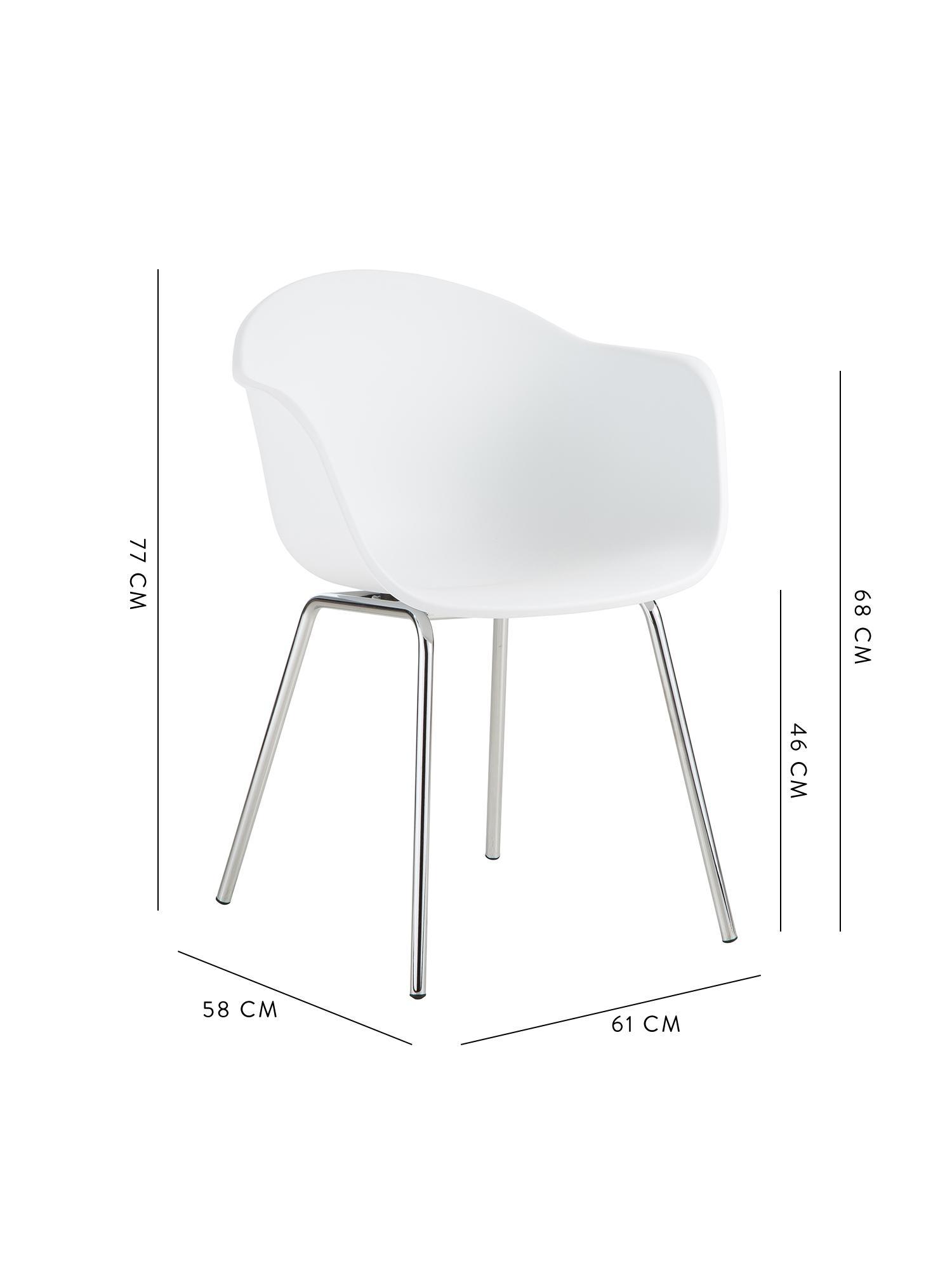 Sedia con braccioli in plastica con gambe in metallo Claire, Seduta: materiale sintetico, Gambe: metallo zincato, Bianco, argento, Larg. 54 x Prof. 60 cm