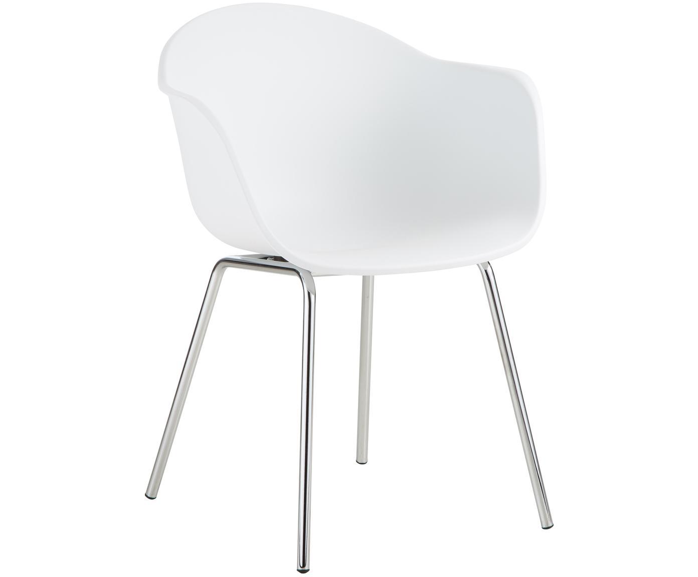 Silla con reposabrazos Claire, Asiento: plástico, Patas: metal galvanizado, Blanco Patas: plateado, An 54 x F 60 cm