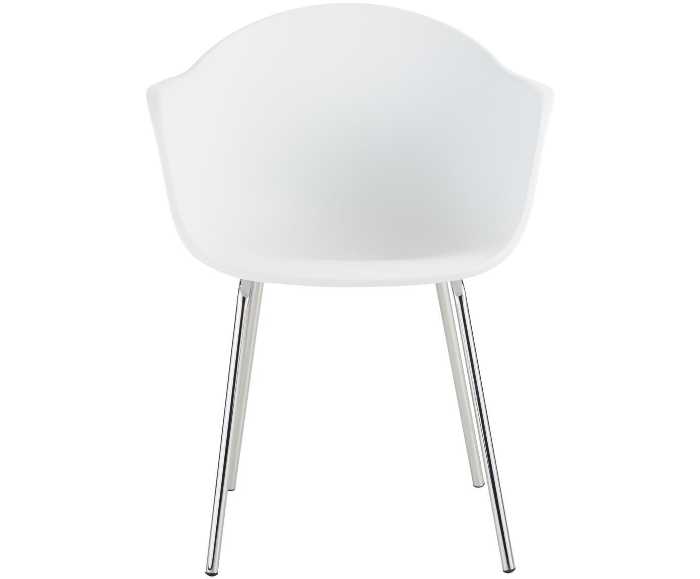 Krzesło z podłokietnikami z tworzywa sztucznego Claire, Nogi: metal galwanizowany, Siedzisko: biały Nogi: odcienie srebrnego, błyszczący, S 54 x G 60 cm