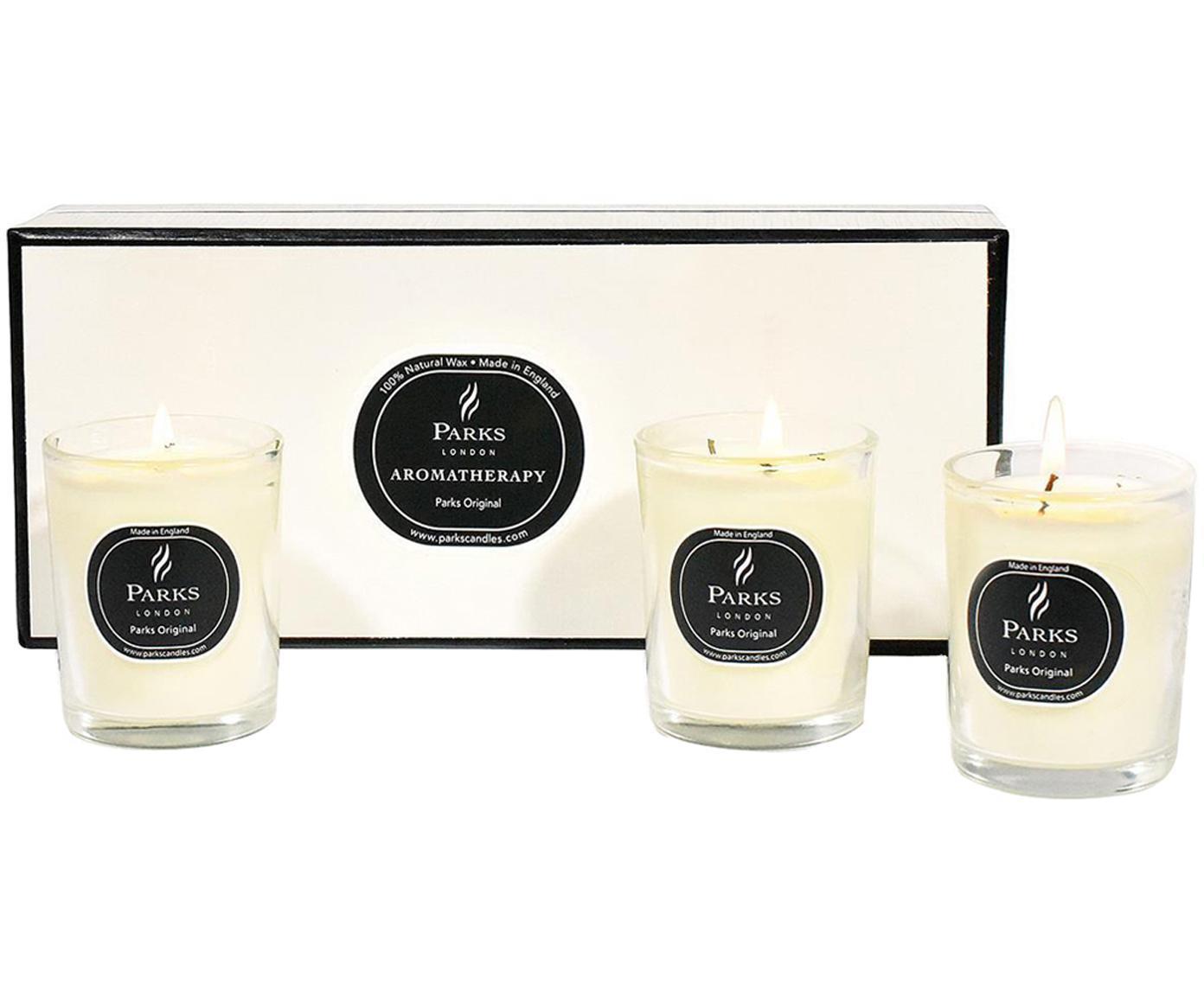 Velas perfumadas Parks Original (vainilla y cítricos), 3uds., Recipiente: cristal, Transparente, blanco, negro, Ø 5 x Al 5 cm
