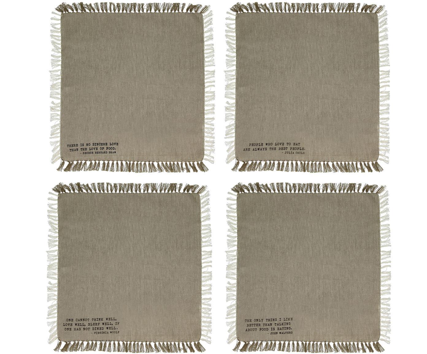 Set 4 tovaglioli in cotone con detti Enjoy, Cotone, Sabbia, Larg. 40 x Lung. 40 cm