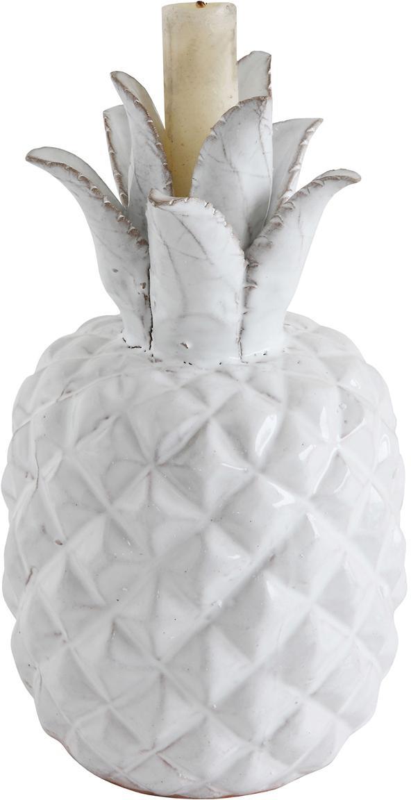 Kerzenhalter Milo, Steingut, Weiß, Ø 13 x H 22 cm