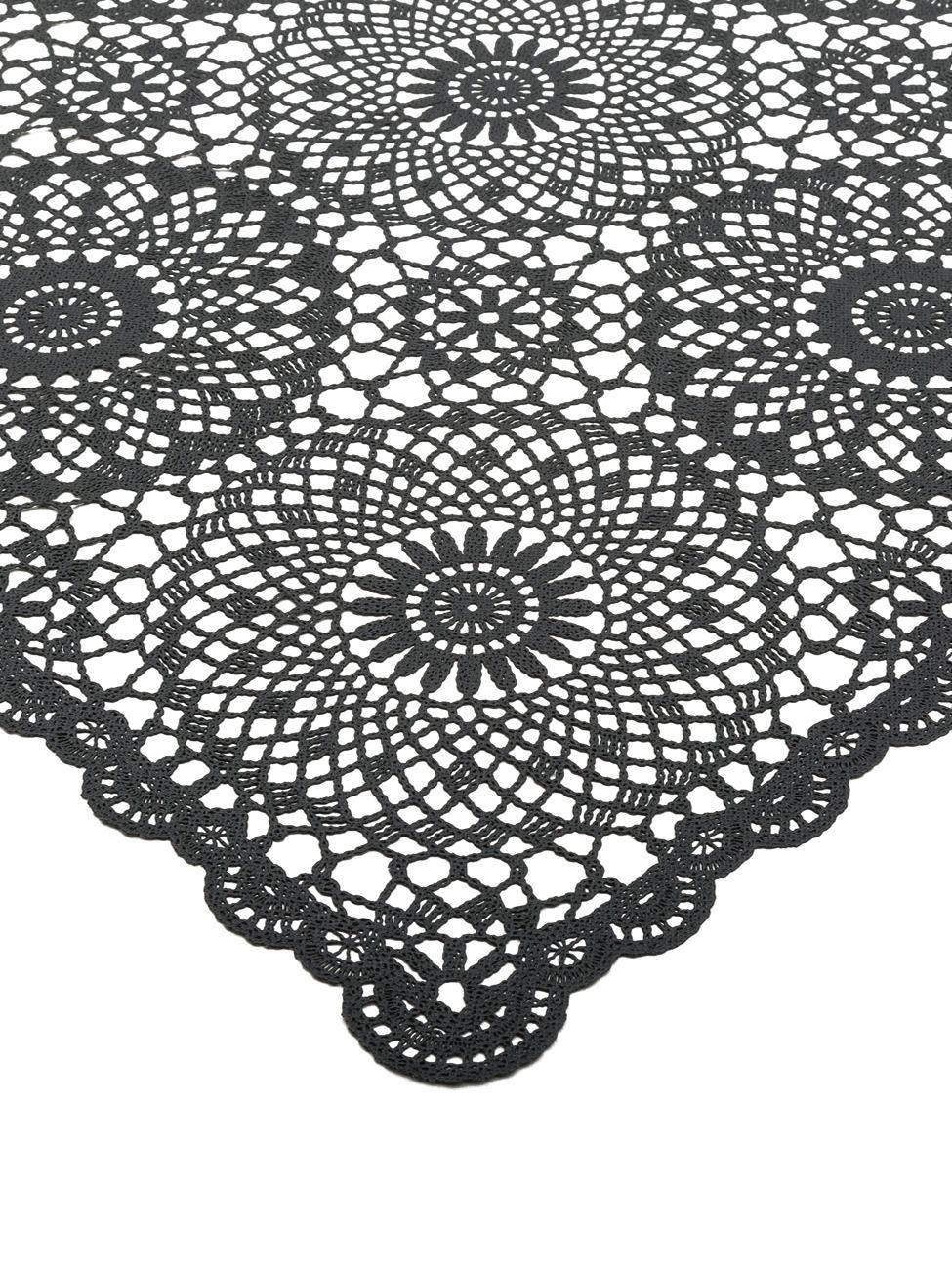 Tischdecke Crochet in Häkeloptik aus Kunststoff, Kunststoff (PVC), Schwarz, Für 4 - 6 Personen (B 137 x L 180 cm)