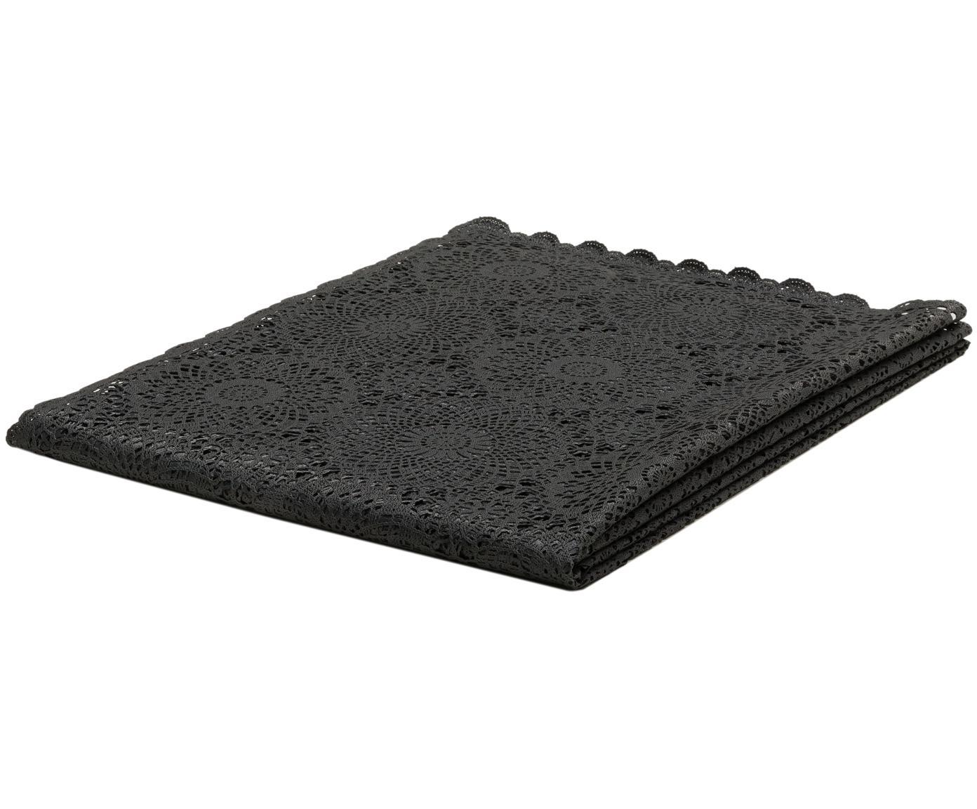 Obrus z tworzywa sztucznego Crochet, Tworzywo sztuczne (PVC), Czarny, Dla 4-6 osób (S 137 x D 180 cm)