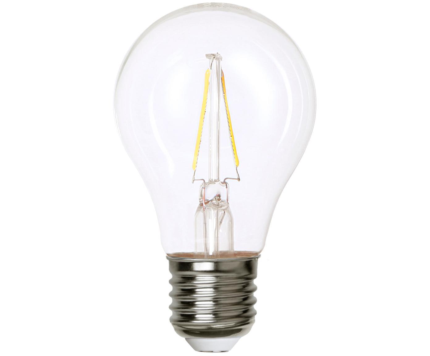 LED lamp Airtight Two (E27 / 2W), Lampenkap: glas, Fitting: vernikkeld koper, Transparant, nikkelkleurig, Ø 6 x H 11 cm