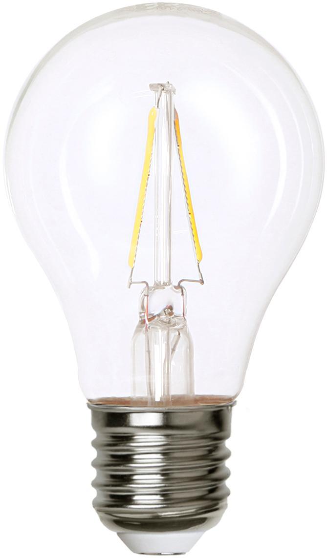 LED peertje Airtight Two (E27/2W), Lampenkap: glas, Fitting: vernikkeld koper, Transparant, nikkelkleurig, Ø 6 x H 11 cm