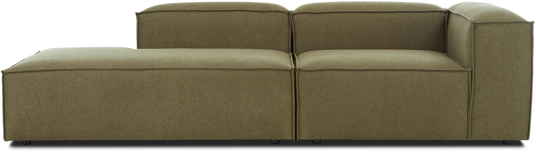 Modulaire chaise longue Lennon, Bekleding: 100% polyester, Frame: massief grenenhout, multi, Poten: kunststof, Geweven stof groen, B 269 x D 119 cm