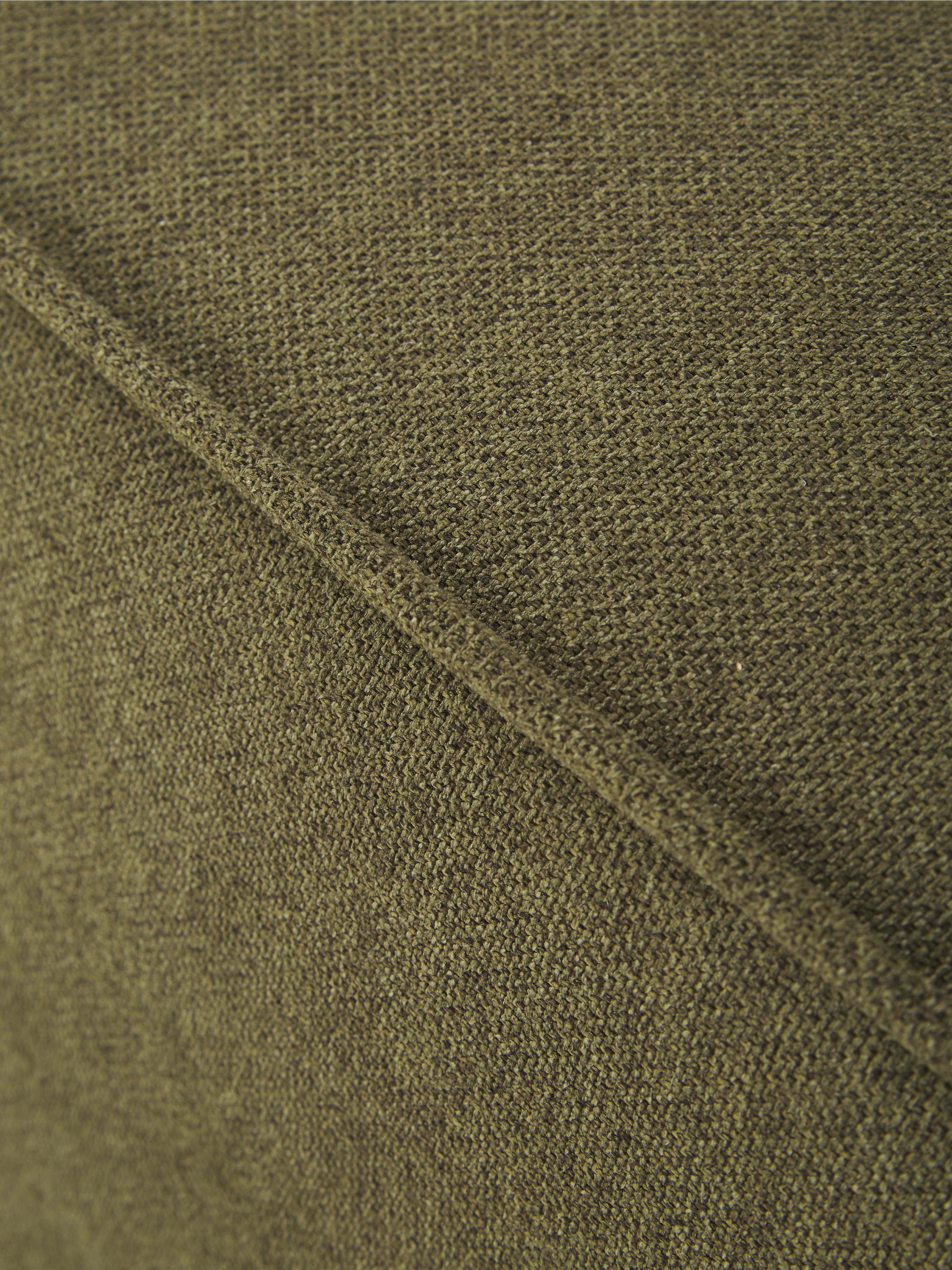 Divano componibile in tessuto verde Lennon, Rivestimento: 100% poliestere 35.000 ci, Struttura: legno di pino massiccio, , Piedini: materiale sintetico, Tessuto verde, Larg. 269 x Prof. 119 cm