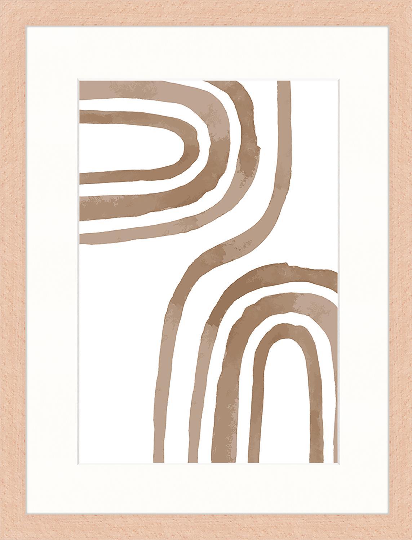 Gerahmter Digitaldruck Modern Poster, Bild: Digitaldruck auf Papier, , Rahmen: Holz, lackiert, Front: Plexiglas, Braun, Weiß, 33 x 43 cm