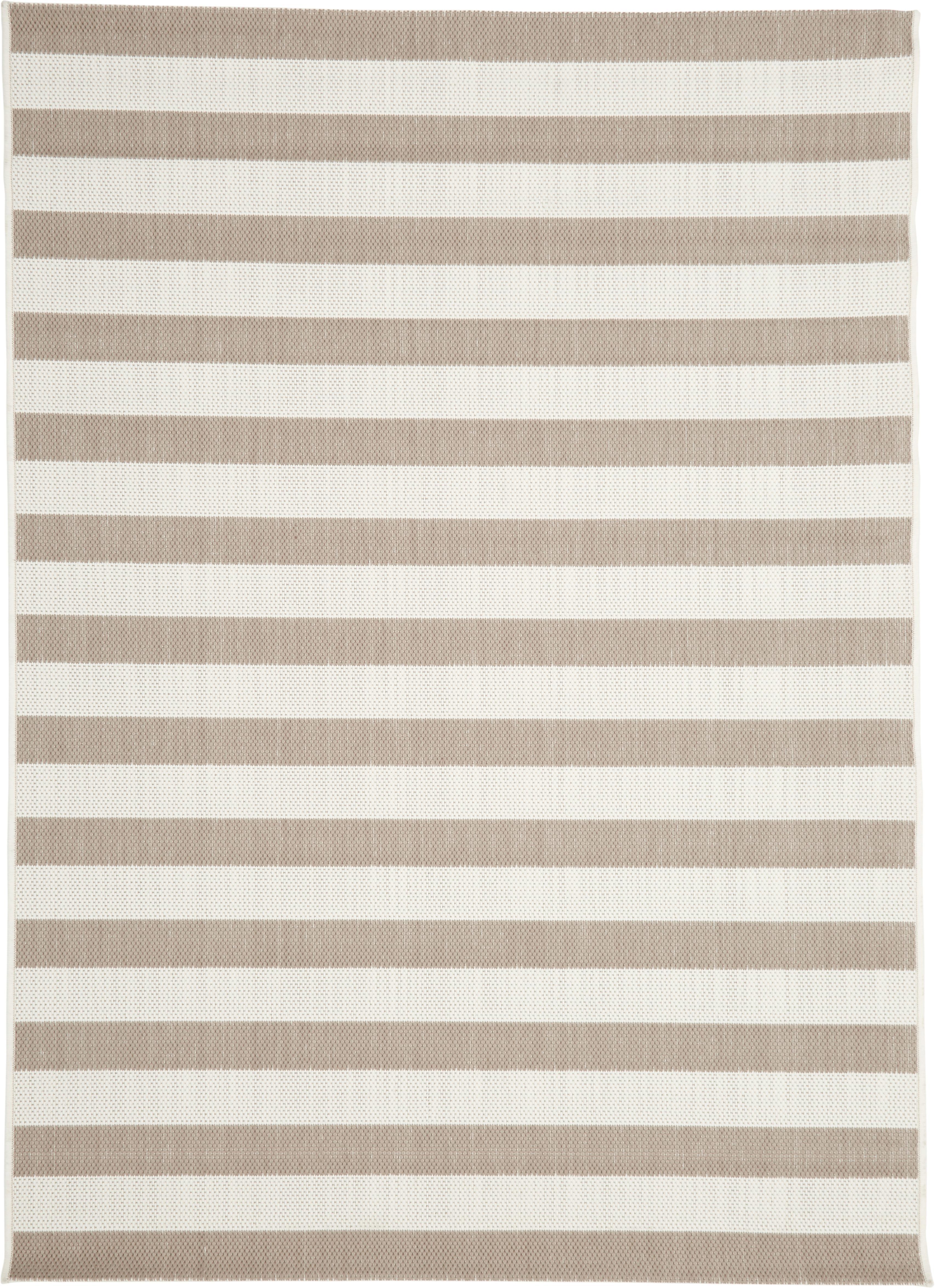 Gestreept in- & outdoor vloerkleed Axa in beige/wit, Bovenzijde: polypropyleen, Onderzijde: polyester, Crèmewit, beige, B 120 x L 170 cm (maat S)