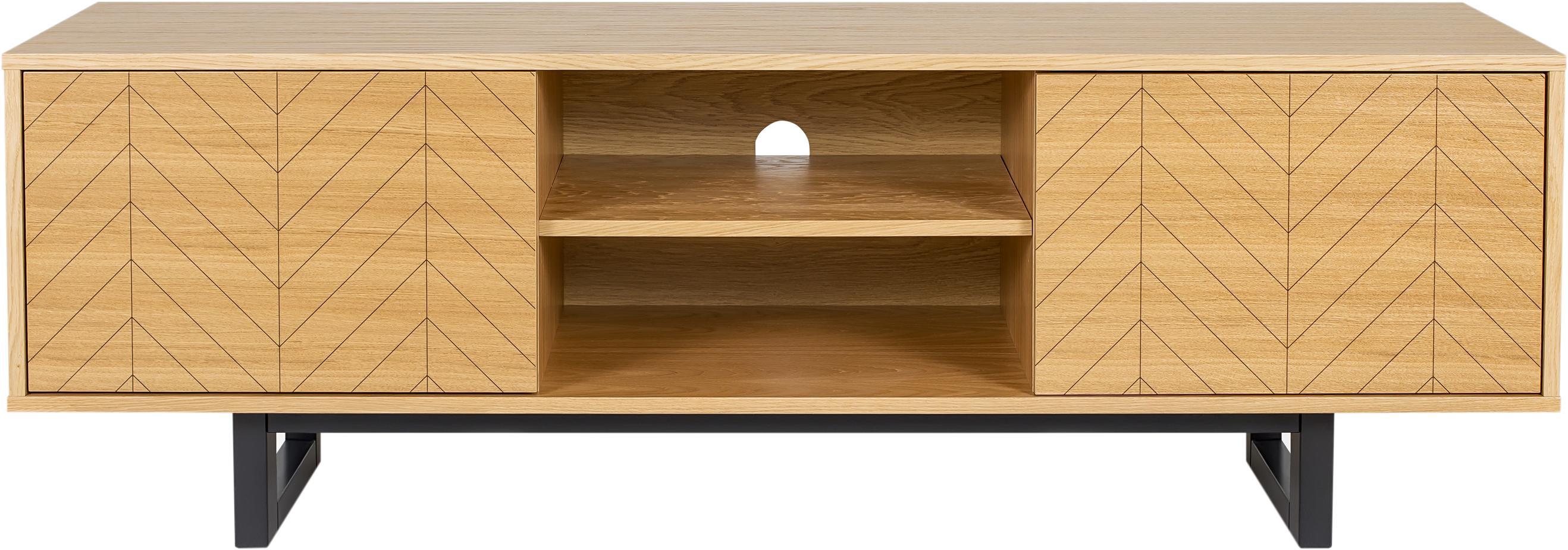 Credenza TV di design Camden, Piedini: legno di betulla vernicia, Legno di quercia, Larg. 150 x Alt. 50 cm