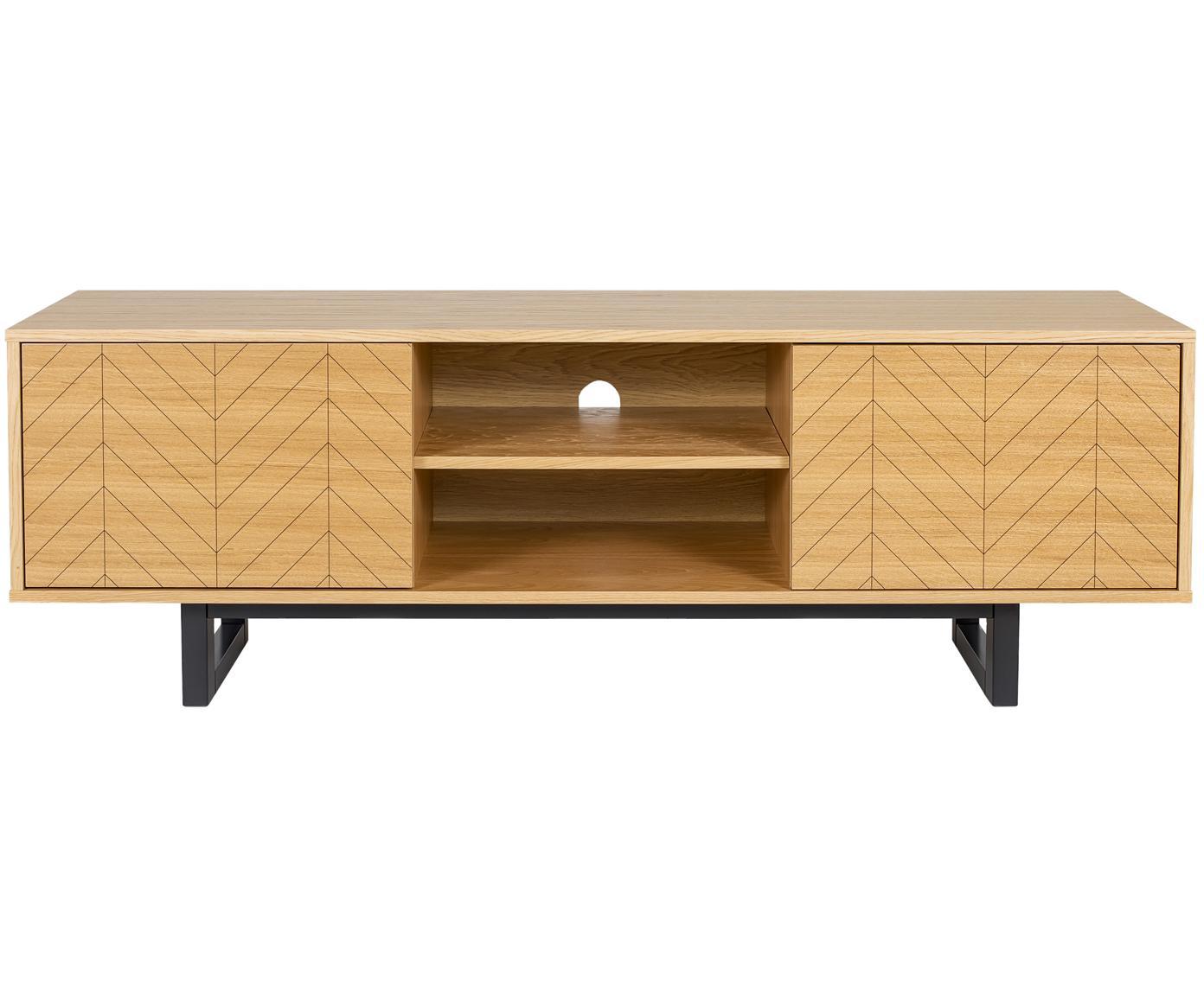 Design TV meubel Camden met eikenhoutfineer, Frame: MDF met eikenhoutfineer, Poten: gelakt berkenhout, Eikenhout, 150 x 50 cm