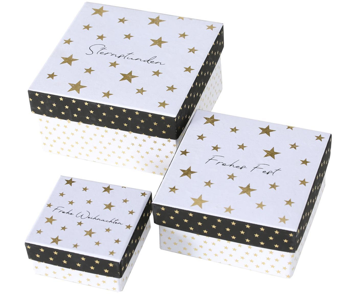Geschenkdozenset Nica, 3-delig, Papier, Zwart, wit, goudkleurig, Verschillende formaten