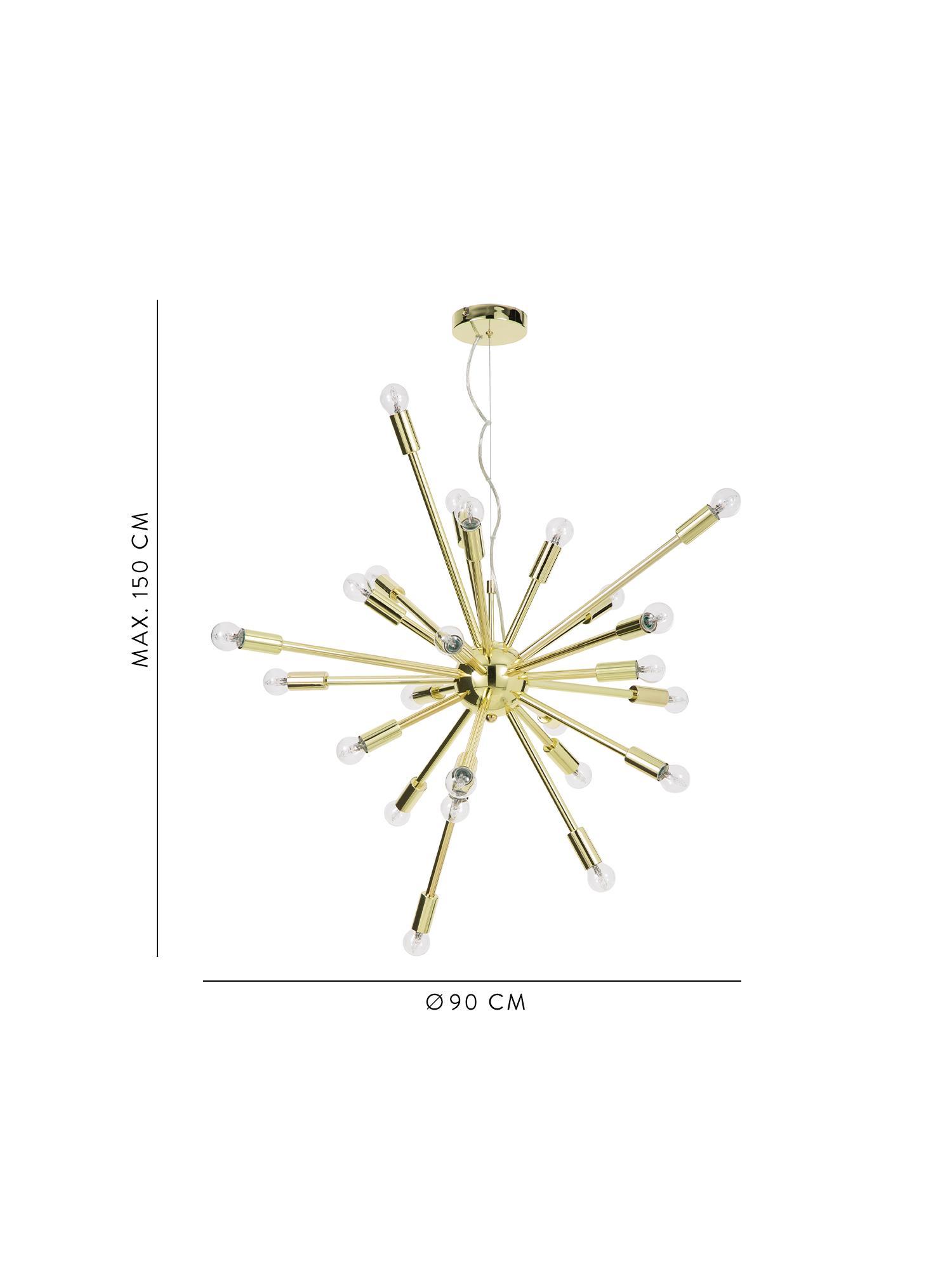 Grande suspension dorée Spike, Couleur dorée
