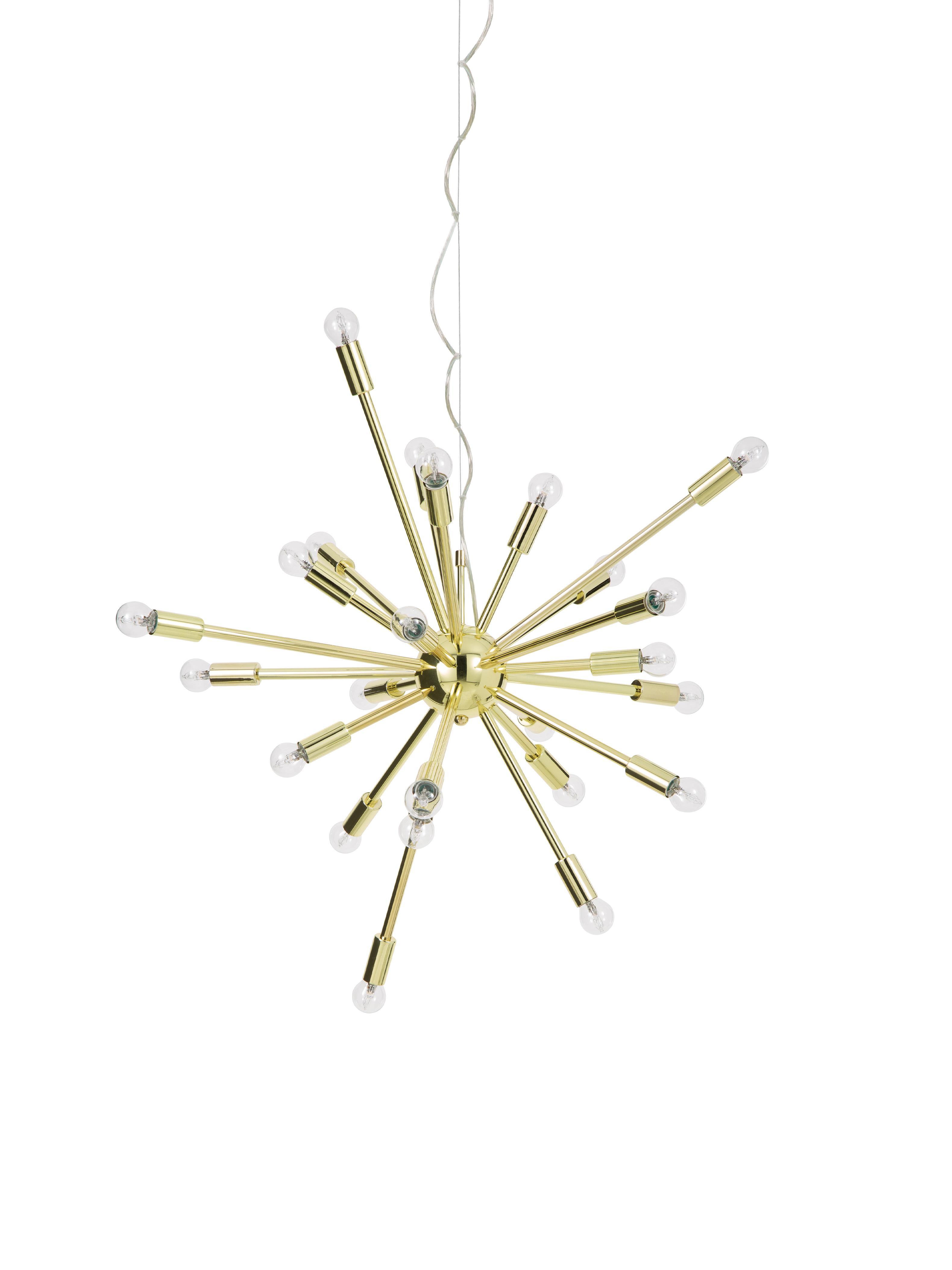 Grote hanglamp Spike goudkleurig, Baldakijn: metaal, Lampenkap: metaal, Baldakijn: goudkleurig. Lampenkap: goudkleurig. Snoer: transparant, Ø 90 cm