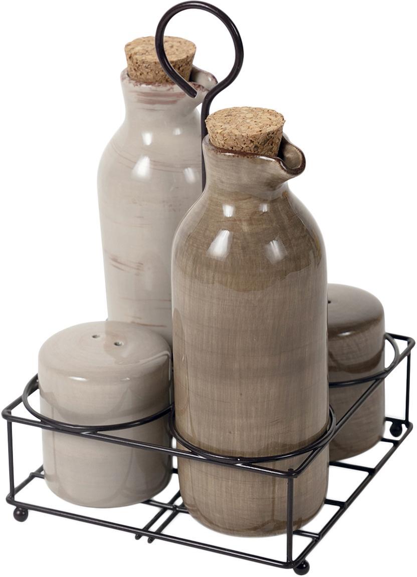 Azijn- en olie-karafset Baita, 5-delig, Keramiek, Beige, Verschillende formaten