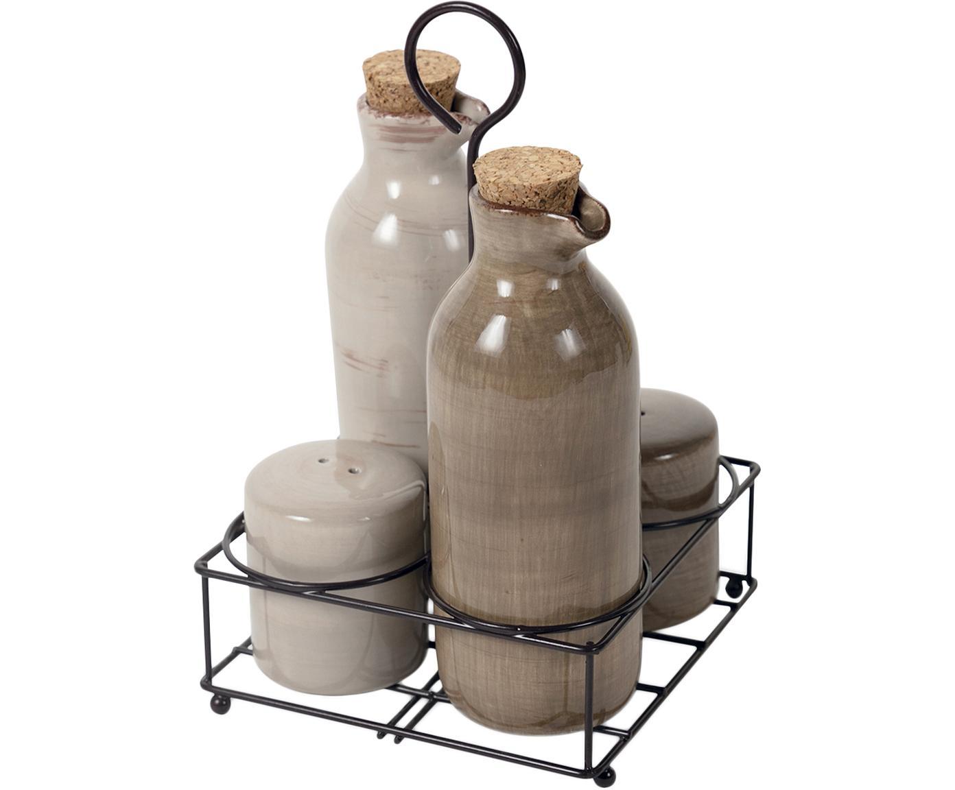 Komplet dozowników na oliwę i ocet Baita, 5 elem., Kamionka, Beżowy, brązowy, Różne rozmiary