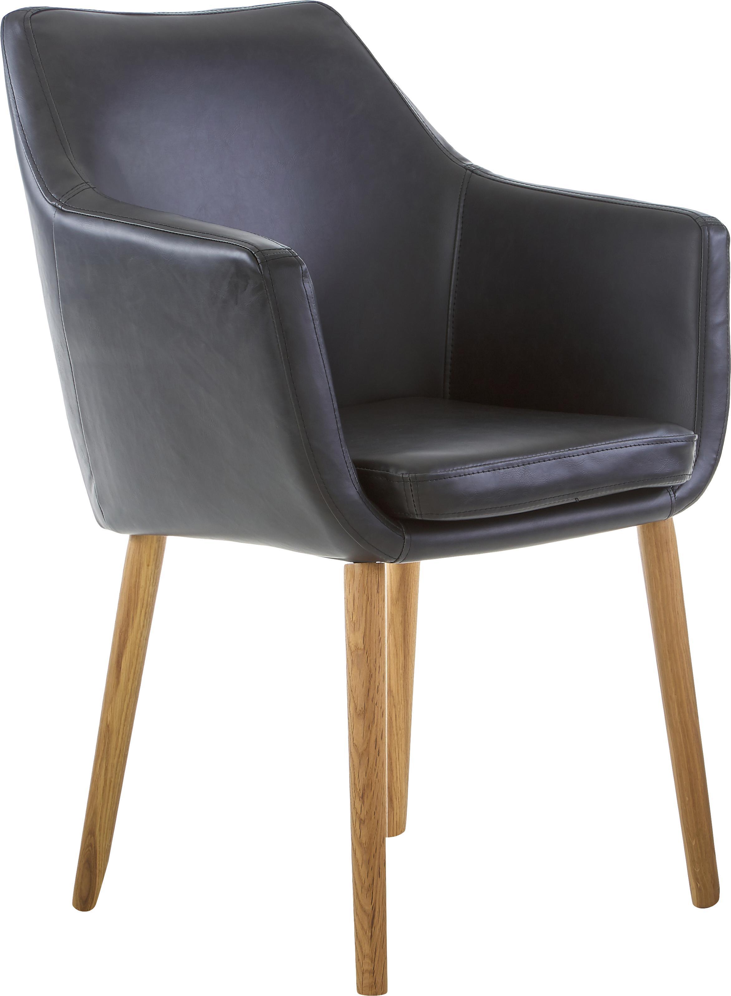 Krzesło z podłokietnikami ze sztucznej skóry Nora, Tapicerka: sztuczna skóra, poliureta, Nogi: drewno dębowe, Tapicerka: czarny Nogi: drewno dębowe, S 56 x G 55 cm