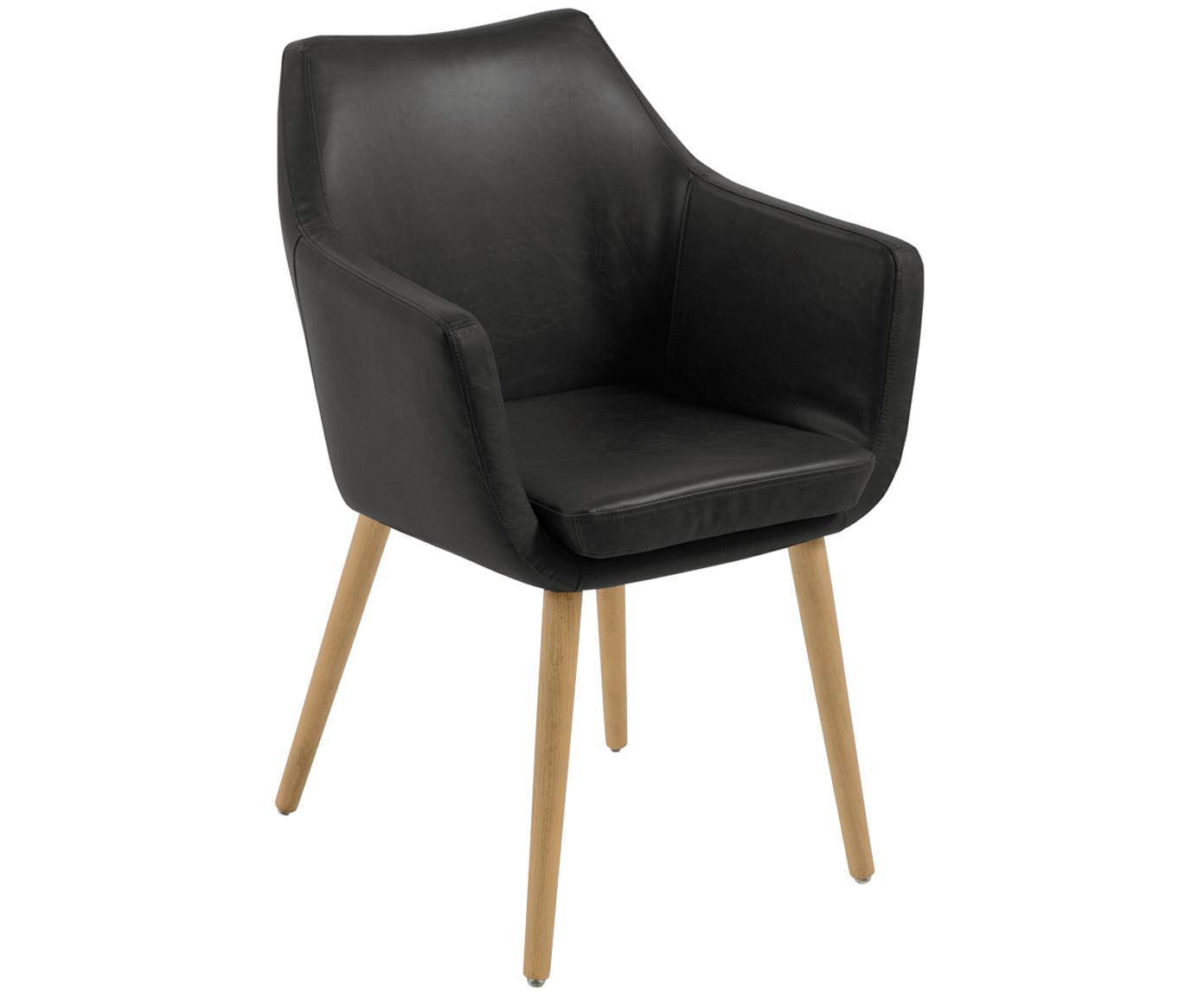 Kunstleren armstoel Nora, Bekleding: imitatieleer (polyurethaa, Poten: eikenhout, Bekleding: zwart. Frame: eikenhoutkleurig, B 56 cm