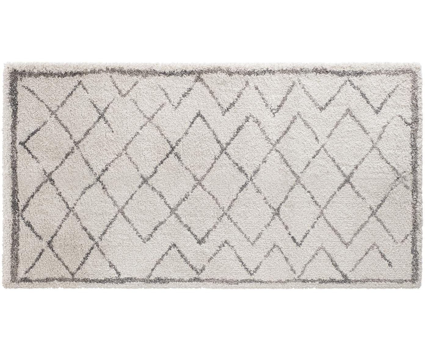 Hoogpolig vloerkleed Grace Diamond met ruitjesmotief, grijs-crèmekleurig, Bovenzijde: polypropyleen, Onderzijde: jute, Crèmekleurig, grijs, 80 x 150 cm