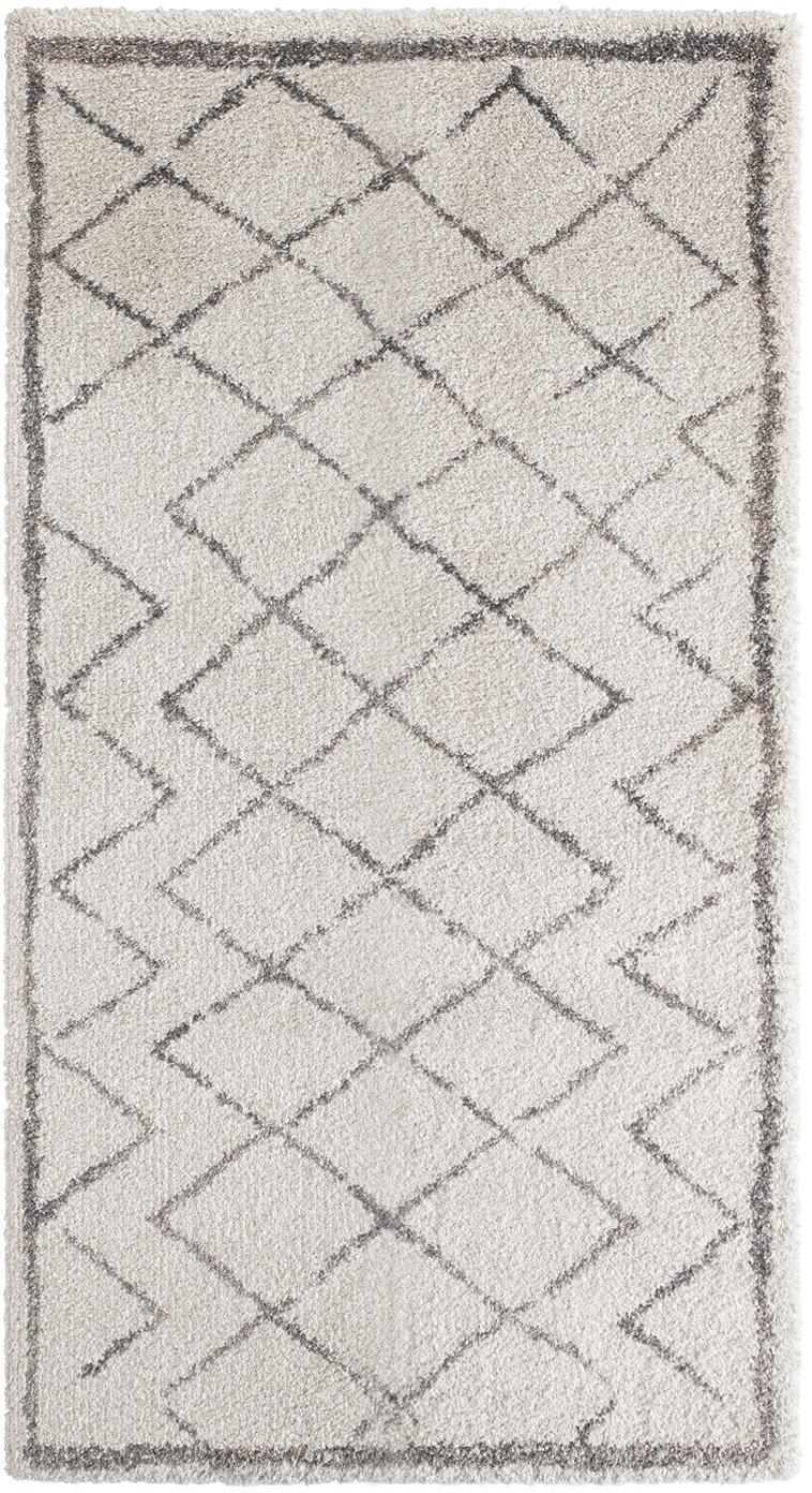 Hoogpolig vloerkleed Grace Diamond met ruitjesmotief, grijs/crème kleur, Bovenzijde: 100% polypropyleen, Onderzijde: jute, Crèmekleurig, grijs, 80 x 150 cm