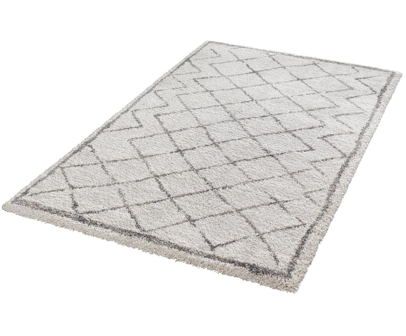 Hochflor-Teppich Grace Diamond mit Rautenmuster, Grau/Creme, Flor: 100% Polypropylen, Creme, Grau, B 160 x L 230 cm (Größe M)