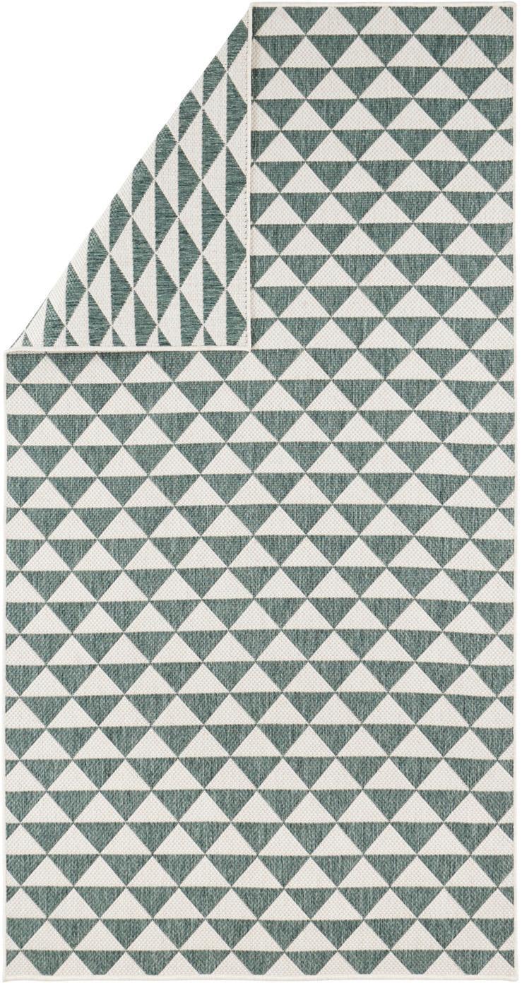 In- & outdoor vloerkleed Tahiti in ethno stijl, Polypropyleen, Groen, crèmekleurig, B 80 x L 150 cm (maat XS)