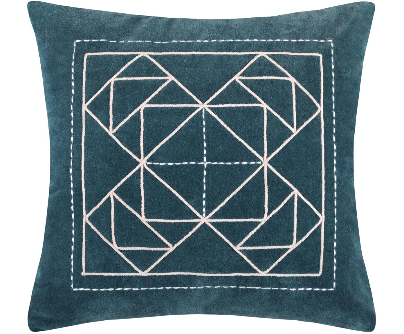 Cojín Niro, con relleno, Funda: 100%algodón, Azul petróleo, blanco, An 40 x L 40 cm