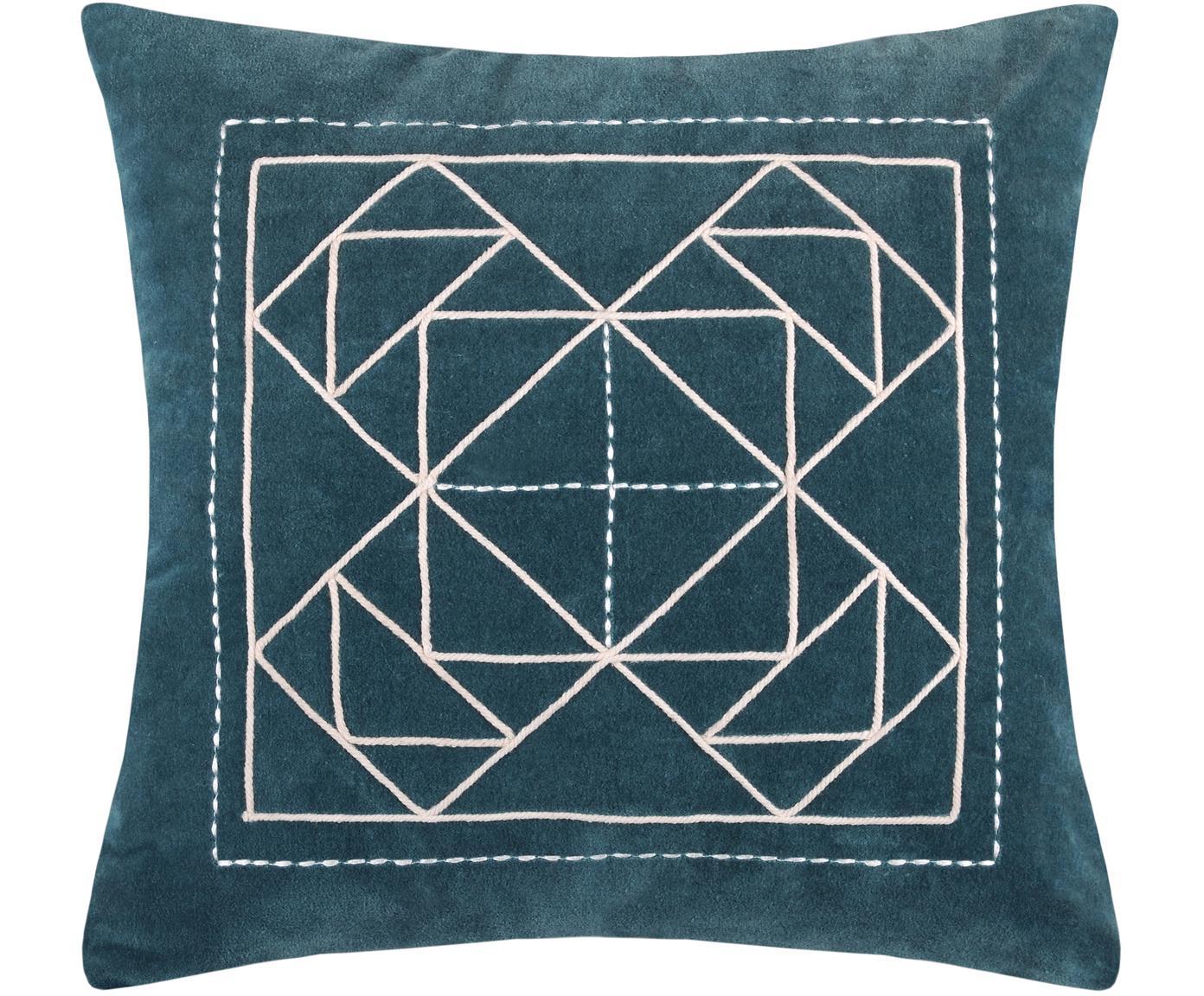 Kissen Niro mit graphischem Muster, mit Inlett, Bezug: 100% Baumwolle, Petrolblau, Weiß, 40 x 40 cm