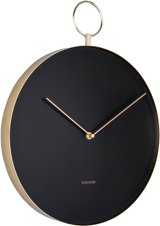 Reloj de pared Hook, Metal recubierto, Negro, latón, Ø 34 cm