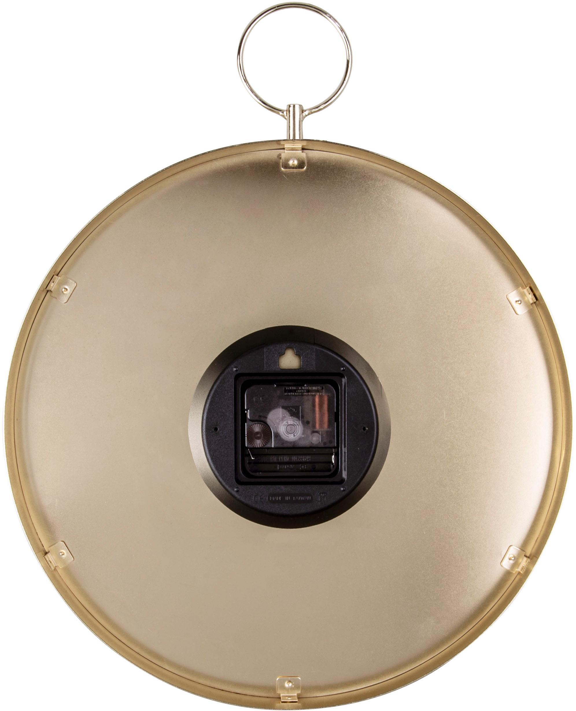 Wanduhr Hook, Metall, beschichtet, Schwarz, Messingfarben, Ø 34 cm
