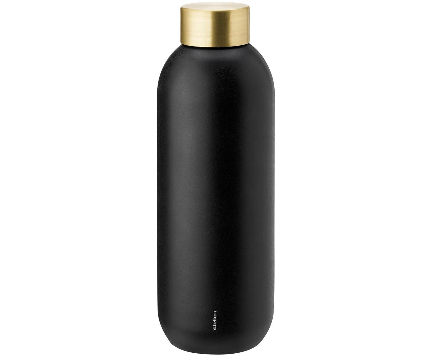 Trinkflasche Collar in Schwarz/Gold, Korpus: Edelstahl mit Teflonbesch, Korpus: Schwarz, mattSchraubverschluss: Messing, 750 ml