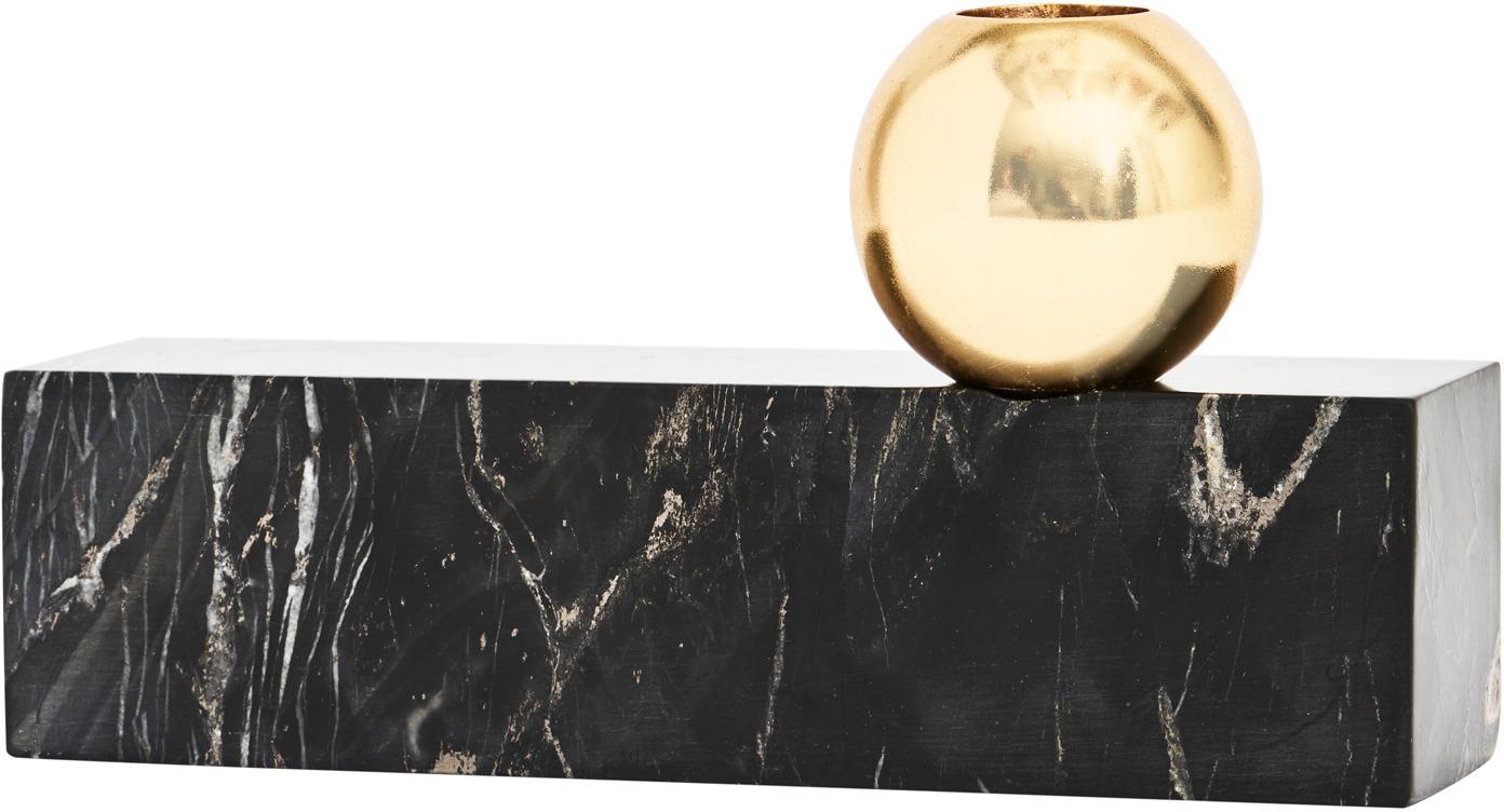 Candelabro de mármol Tangent, Mármol, metal, latón, Negro veteado, latón, An 16 x Al 15 cm